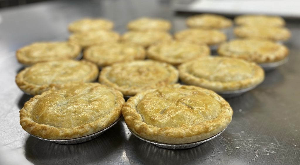 All butter crust chicken pot pies are made from scratch every other Tuesday!